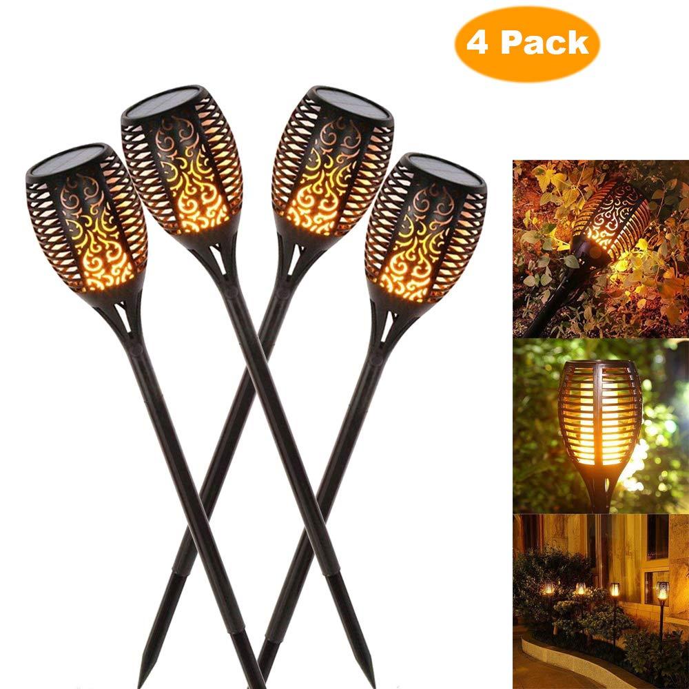 Lámpara de llama Solar parpadeante IP65 impermeable LED decoración de jardín Luz de paisaje lámpara de césped camino de iluminación antorcha Luz de foco