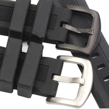 Hot Sale Rubber Watchband 22mm Men Black Sport Diving Silicone Watch Band Strap Stainless Steel Metal Pin Buckle Bracelet + Tool hengrc rubber watchband 22mm universal silicone watch band strap with vintage stainless steel buckle red black brown orange