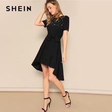 607a5c18ea SHEIN Black Elegant High Low Hem Pearl Embellished Belted Summer Dress  Women Short Sleeve 2019 Office Lady Fit and Flare Dresses