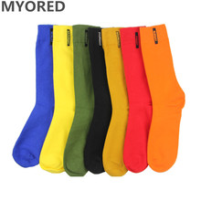 MYORED fashion mens socks combed cotton solid color business socks for man british style multi-colored week socks for men dress funny socks men week seventh socks leisure solid color embroidery new combed cotton socks spring autumn man