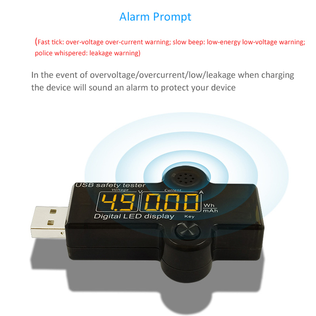 STOD USB Tester Meter Digital Multimeter Current Voltage Detector Sound Alarm Safe Charging For Charger Power Bank Cable Monitor