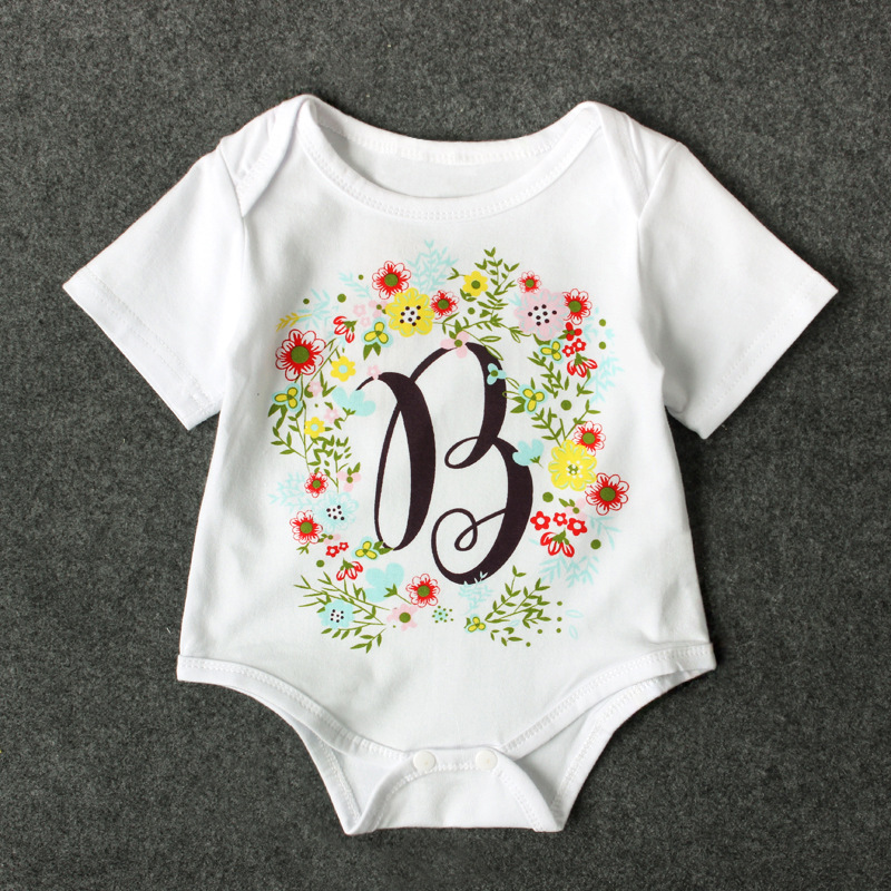 Fashion White Baby Romper Short Sleeve Floral Letter Print Infant Rompers Cotton Onepiece Summer Baby Girls Clothing
