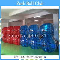 Free Shipping 12PCS (6 Blue+6Red+2 pumps) 1.5m Diameter TPU Inflatable Human Hamster Ball,BubbleSoccer,Bumperball For Football