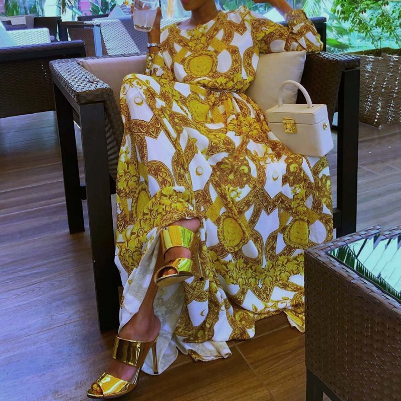Summer Elegant Boho Yellow African Black Girls Women Long Dresses Plus Size Casual Print Ethnic 2019 Female Fashion Maxi Dress