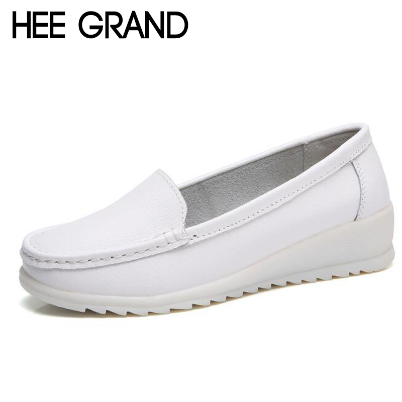 HEE GRAND Women Causal Nurse Flats Woman Comfortable Shoes Slip-on for Work White Solid Flats Ladies Shoes size 35-44 XWD6413