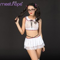 Student erotic uniform suit role playing performance clothing white lace sexy mini skirt split sports sexy cheerleading costume