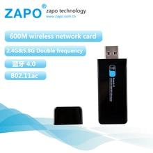ZAPO 600Mbps Usb Bluetooth adapter network card 2.4G-5G wifi adapter usb WiFi in stock 802.11b/n/g/ac internet modem So fast