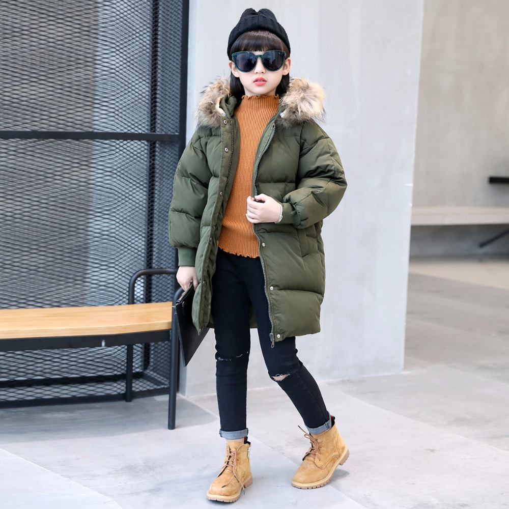 3 colors fur hooded children down coats girls winter long jackets kids clothes fashion child warm jacket for girls coat 6 8 10 Y winter jackets girls fashion kids winter coat down jacket for girl fur hooded children warm outerwear