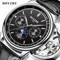 BOYZHE Top Brand Luxe Goud Mannen Automatische Mechanische Horloges Militaire Horloge Sport Self-Kronkelende Horloges Relogio Masculino