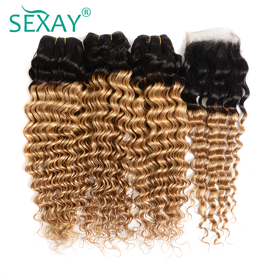 Create Sexay Pre Colored 3 Bundles Pack With Closure Two Tone 1b