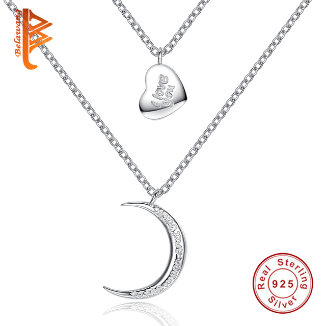 New 925 Sterling Silver I love you to the Moon and back Statement Choker Pendant Necklace Collares Multilayer Necklace for Women