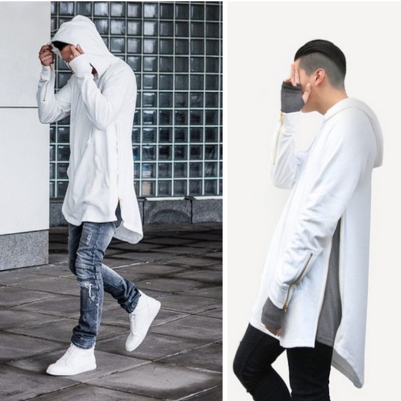 Men Hooded Sweatshirts Fashion Europe America High Street Lrregular Hem Hoodies Jacket Long Sleeve Cloak Male Hooded Pullover
