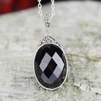 S925 silver inlaid Thai silver pendant inlaid face black minimalist fashion pendant