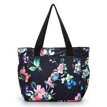 Çiçek büyük omuzdan askili çanta hafif büyük kapasiteli rahat çanta su geçirmez Oxford kırsal tarzı çanta kadın moda seyahat çantası