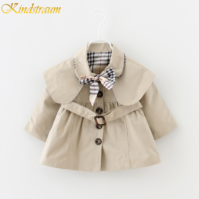 Kindstraum 2017 New Baby Girls Trench Coat 12M 3Y Children Bowknot Long Sleeve Outwear Kids Jackets