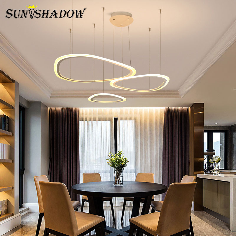 Home White Modern Led Chandelier For Large Living room Dining room Kitchen Led Lustre Chandelier Creative Light Led Ceiling Lamp