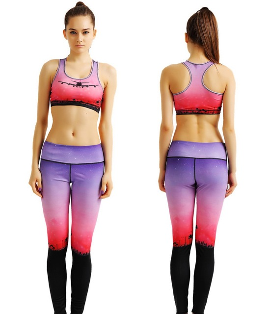 33c824ec93212 Sexy Red Sunset Aircraft Women Fitness Pants Set Flying Plane Yoga Suits  Landing Airplane Gym Bras Jogging Activewear Purple New