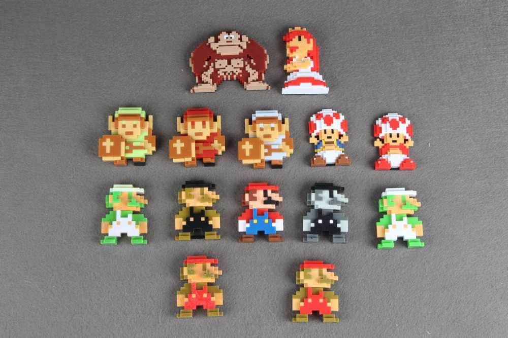 "Original Super Mario Bros 2.5 ""8 Bit Mario Luigi Donkey Kong Action Figure"