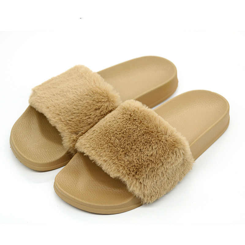 30c7b7574a83f5 ... COOLSA New Arrival Women s Furry Slippers Faux Fur Slippers Non-slip  Plush Fashion Slippers Fluffy ...