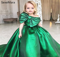 Emerald Green Girls Pageant Dress Princess Children Kids Party Prom Gown Pretty For Little Kids Birthday Party with Bow