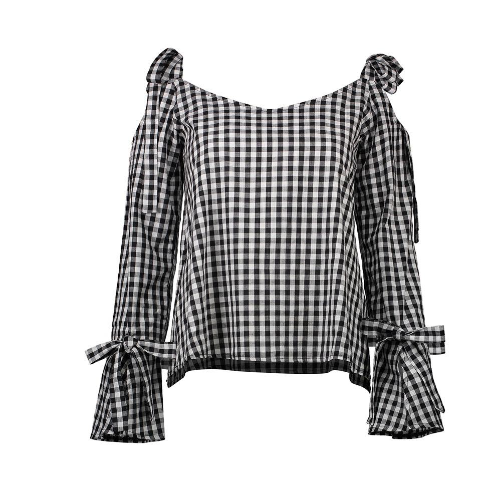 Female coat summers fashion sexy coat joker grid intersection of dewy shoulder long sleeve shirts wholesale bow Black grid