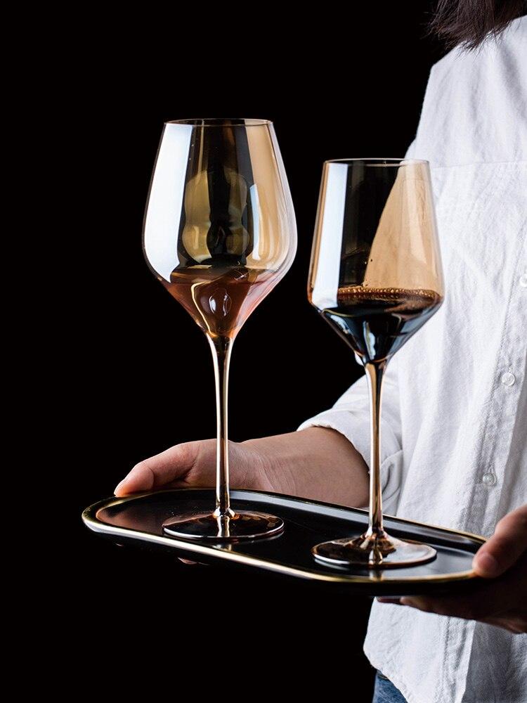 Verre à Champagne en verre plaqué couleur cristal rouge sans plomb vin domestique