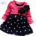 Free Shipping 2016 New Style Baby Girl Long-Sleeved Bow Dress Children Flower Princess Dress Kid In Polka Dot Dress Retail