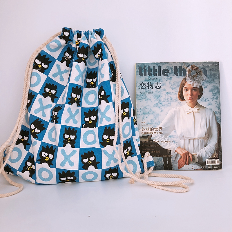 Drawstring Backpack Shoulder-Bag Travel-Bags Anime Black School New Unisex Storage Penguin