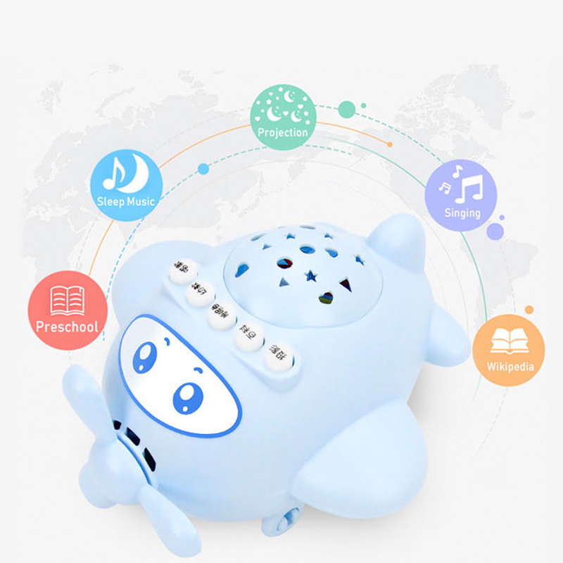 2017 Baby Infant Music Story LED Light Projection Multifunction Projector Lamp Aircraft Appease Plane Educational Learning Toys