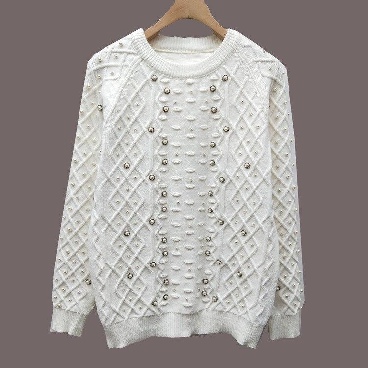 Blanc perles chandails Top épais femmes élégant à manches longues o-cou extensible mode 2018 nouveaux pulls femme hauts de haute qualité