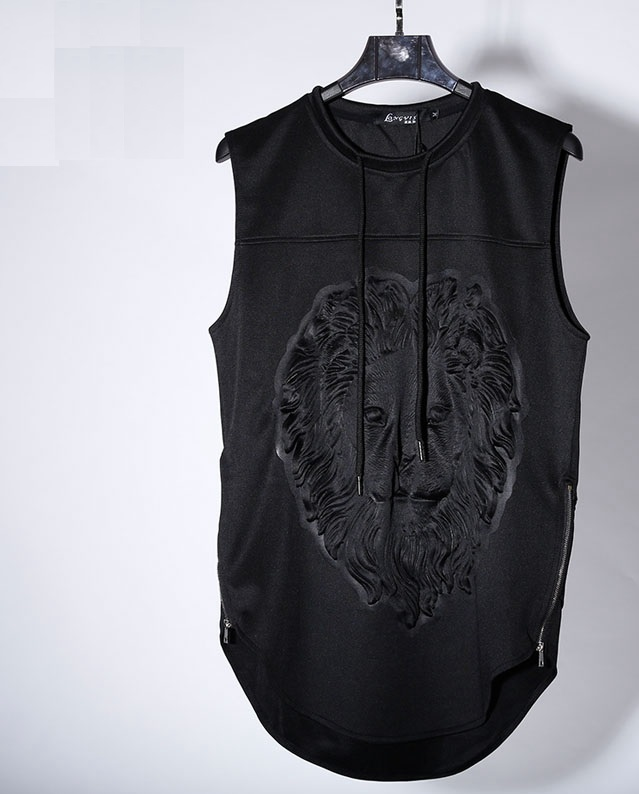 KPV001 Man style 3D Lion head Solid press printing sleeveless font b polo b font shirts