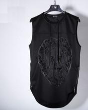 KPV001 Man style 3D Lion head Solid press printing sleeveless polo shirts/Men's stereo lion vest  wrinkle hem sleeveless shirt
