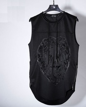 KPV001 Man style 3D Lion head Solid press printing sleeveless polo shirts/Men's stereo lion vest  wrinkle hem sleeveless shirt