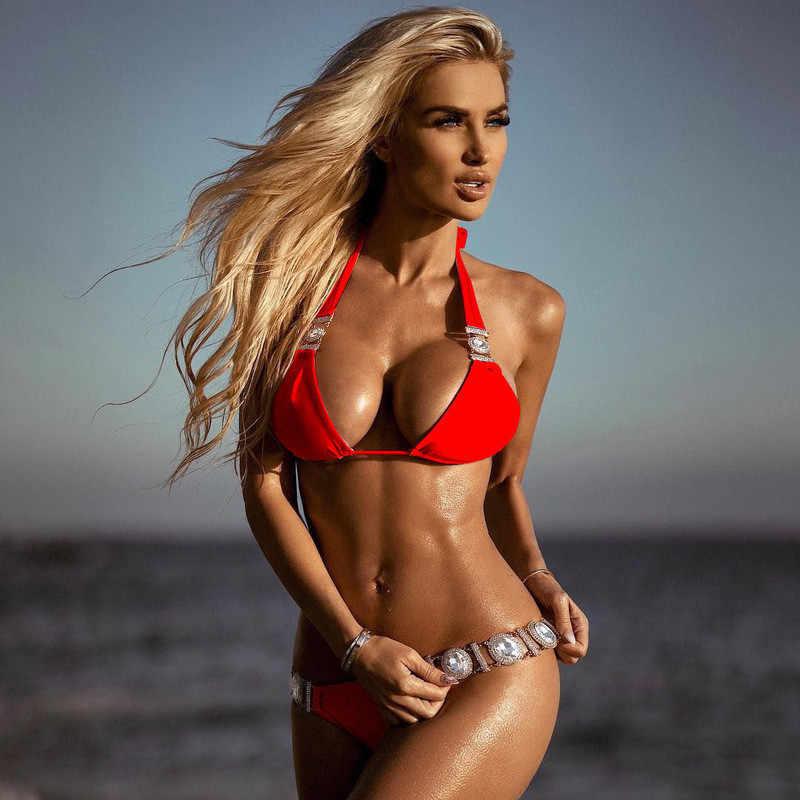 Halter de traje de baño de Bikini push-up acolchado baño de playa traje de baño traje sólido brasileño de diamantes de imitación