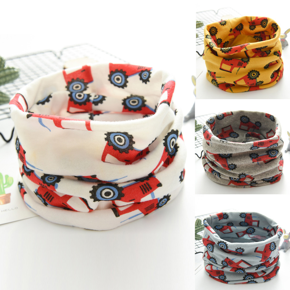 New Scarf  Autumn Winter Baby Tractors Scarf Boy Girl Cotton O Ring Neck Scarves Boys And Girls Scarf Baby Clothing Accessories