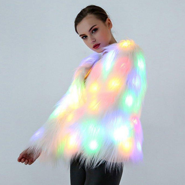6XL Women Faux Fur LED Light Coat Christmas Costumes Cosplay Fluffy Fur Jacket Outwear Winter Warm Festival Party Club Overcoat 2