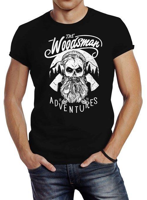 6da1b84ea842b0 100% Cotton Brand New T-Shirts Herren T-Shirt Lumberjack Woodsman Hipster  Bart Skull Totenkopf Print T Shirt Men