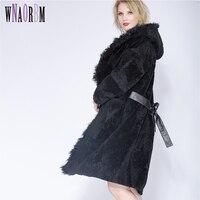 2018 овечья Shepherd Для женщин самосовершенствование зимнее пальто зимние сексуальные пижамы раздел натуральный мех пальто, волосы ягненка шля