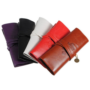 Hot Sale  Vintage Retro Roll  Faux Leather Make Up Cosmetic Pen  Pencil Pouch Purse Bag  8CJP Office & School Supplies