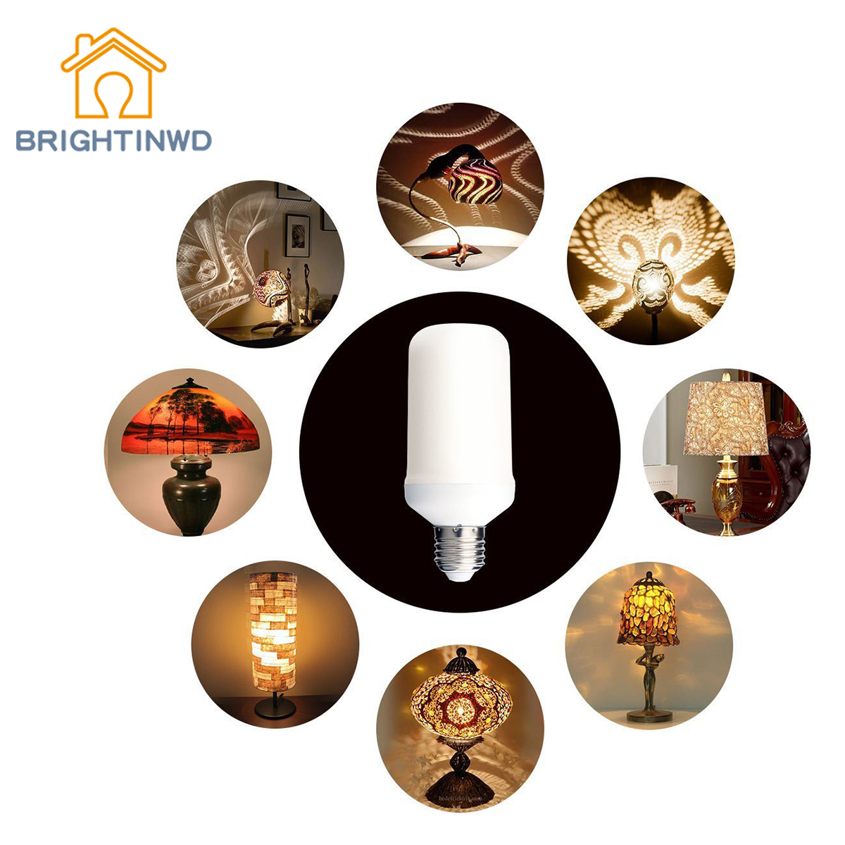 BRIGHTINWD Flame Light LED Torch Light Bulb 99SMD Simulation Flame Candle Light E27 Festive Decorate Atmosphere Flare Light