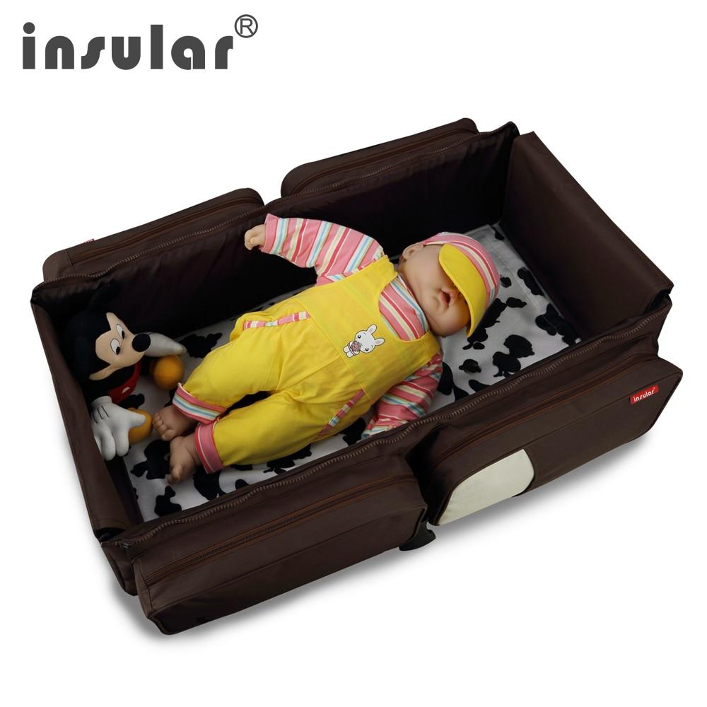 Nový příjezd 2 v 1 Multifunkční cestování Baby Baby Plenka Bag Fold Baby Baby Výměna Bags Mommy Bag Přenosné dětské lůžko