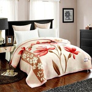 Image 5 - שמיכת Raschel שכבה אחת פרחוני מודפס קשמיר בסגנון קוריאני משובץ חם רכה שמיכות מינק חורף גודל מלכת סדין למיטה חמה