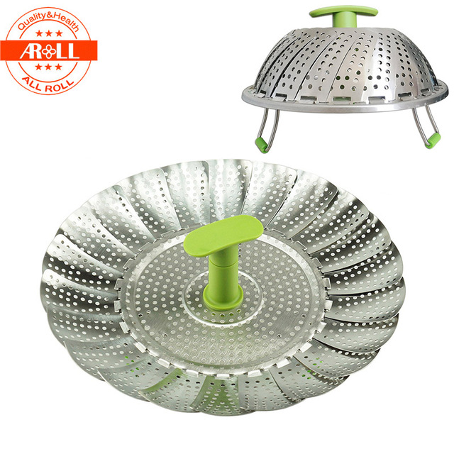 11 Stainless Steel Vegetable Steamer For Cooking Metal Steam Rack With Plastic Handle Mesh Washer Basket Bowl Cooker