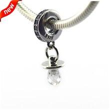Chupete encantos con Clear Cubic Zirconia Fit para pulseras Pandora 925 cuentas de plata joyería FL12381