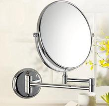 Full Copper Wall Mounted Telescopic Double Sided Bathroom Mirror Three Times To Enlarge The Hotel Beauty