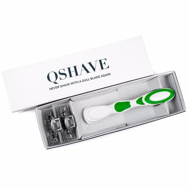 Бритвенный станок для женщин Qshave Green Series + лезвия X3 6 шт