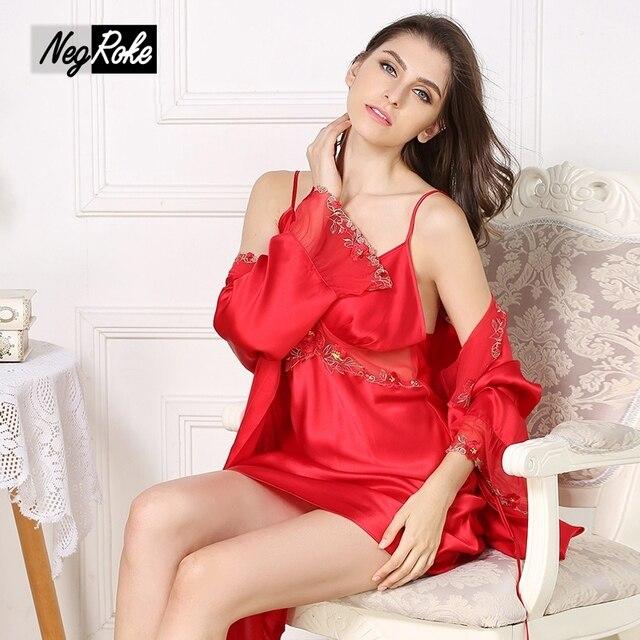 Новый Красный сексуальная 100% Шелк женщин пижамы наборы мода спагетти ремень с длинным рукавом благородный шелк pijama для женщин Шелковый халат платье наборы