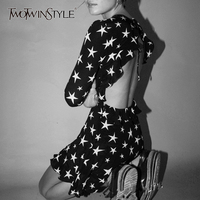 TWOTWINSTYLE Star Mini Dress Women Long Sleeve Backless Lace Up High Waist Ruffles Mini Dresses Summer Autumn Sexy Tide Clothing