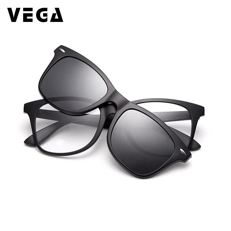 VEGA 2 En 1 Magnétique Polarisée Clip Sur des lunettes de Soleil Sur Ordonnance Lunettes Hommes Femmes Fit Plus lunettes De soleil Magnétique 2208