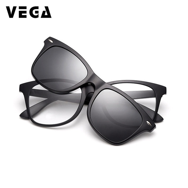 975a07c15afb VEGA 2 In 1 Polarized Magnetic Clip On Sunglasses Over Prescription Glasses  Men Women Fit Over Magnetic sunglasses 2208